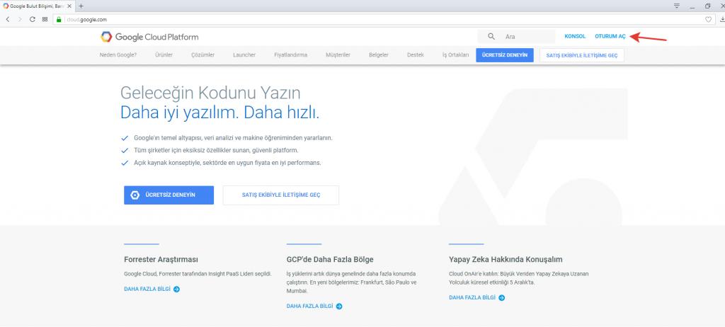 Google Cloud Ana Sayfa
