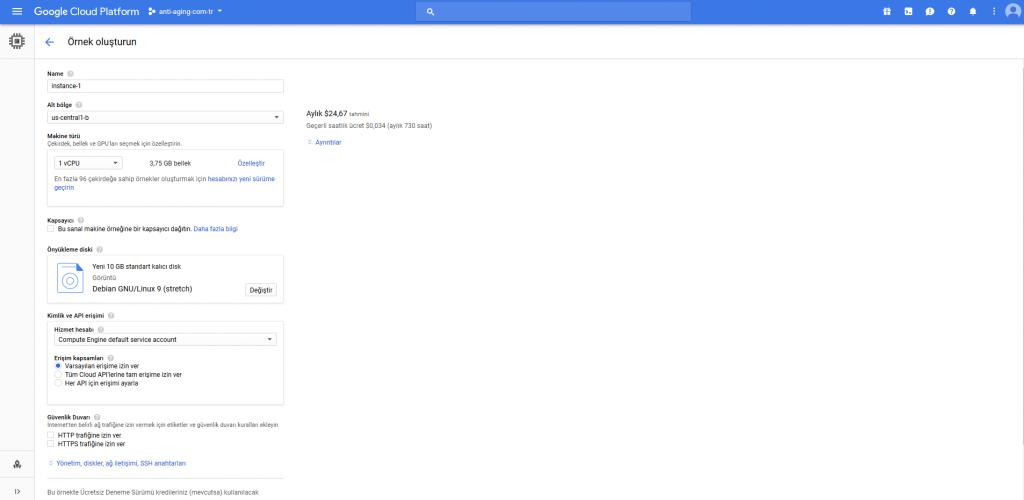 Google Cloud Compute Engine Oluştur