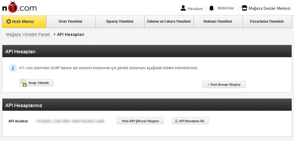 N11 API Hesabı Oluşturma Adım 3
